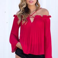 Monaco Ruffle Cold Shoulder Top - Red