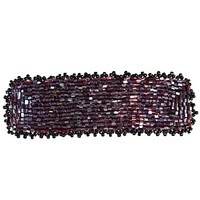 Red Maroon and Black Barrette Classic Beaded Hair Accessory Authentic Handmade Clip Womens