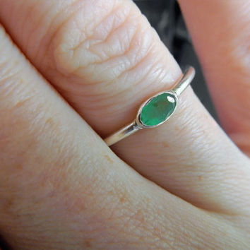 Genuine Emerald and Sterling Silver Ring - Natural Emerald Ring - Stacking Ring - Minimalist Ring - May Birthstone - Silver Emerald Ring