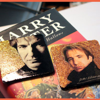 Alan Rickman gift, fridge magnets, Glitter round Magnets, Severus Snape actor, Harry Potter, handmade glossy, gold, brass, accessories