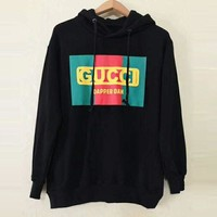 GUCCI Tide brand classic red and green logo printing men and women models long sleeves head round neck sweater