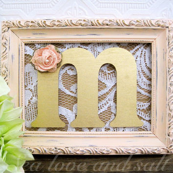 Peach and Gold Bridal Shower Decorations Wooden Letters Rustic Chic Wedding Decor Personalized Gift Ideas