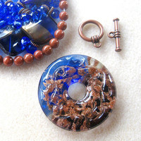 Lampwork Glass Donut Pendant, Goldstone, Glass Beads, Copper, DIY Jewelry Kit, Jewelry Making Beads, Bead Kit, Gemstone Bead, Necklace Kit