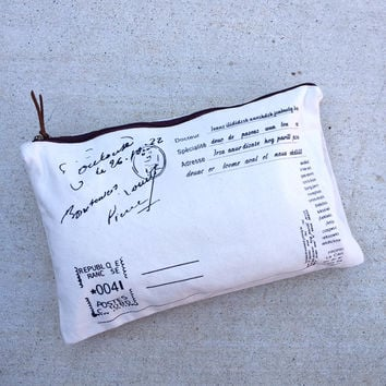 Fold Over Canvas Postal Clutch