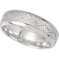 7mm Hand Woven Comfort Fit 14K White Gold Men's Wedding Band (Available Ring Sizes 7-12 1/2)