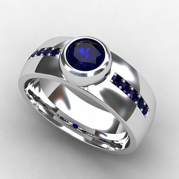 Blue sapphire ring, white gold, sapphire wedding band, Modern ring, bezel, men wedding ring, commitment ring, men blue ring, unique