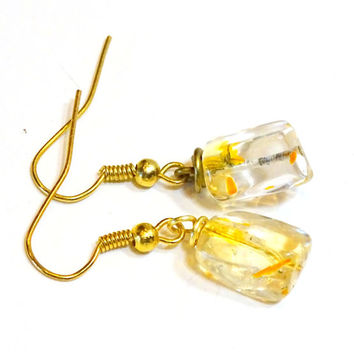Citrine gemstone nugget drop earrings, dangle earrings,gemstone earrings,June birthstone, Nov birthstone,anniversary jewelry