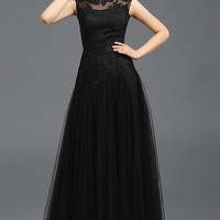 Embellished Illusion Yoke Mesh Gown