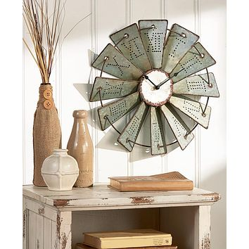 Unique Home Office Western Rustic Vintage Metal Windmill Wall Clock