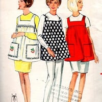Butterick 4633 Sewing Pattern Retro 1960s Apron Empire Waist Flared Full Kitchen Smock One Size Rare