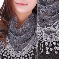 summer autumn Beach Hollow Tassel Lace Rose Floral Knit Mantilla Scarf Women Shawl Wrap scarves