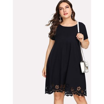 Plus Size Navy Scallop Laser Cut Tunic Dress