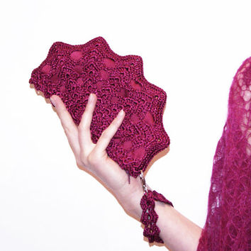 Deep Magenta Crochet Shell Clutch