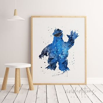 Cookie Monster, Sesame Street Watercolor Art Print