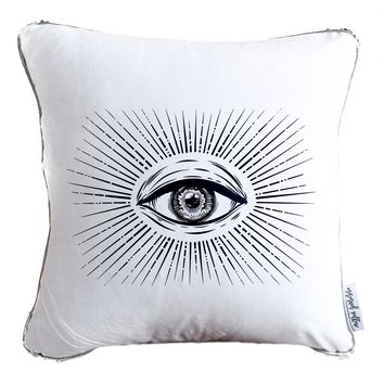 All Seeing Eye Decorative Throw Velvet Pillow w/ Silver & White Reversible Sequins
