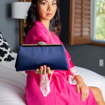 Navy Blue and Silver Evening Clutch
