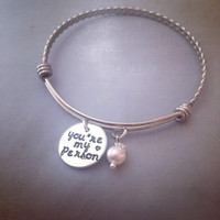 Personalized Bracelet Hand Stamped Jewelry - Grey's Anatomy Inspired You're my Person Alex and Ani Inspired Bangle Bracelet