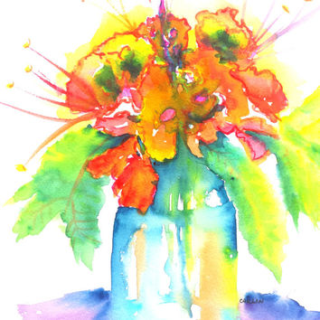 Flowers in Vase, Original Watercolor, 9x12, Colorful floral, Blue Glass Vase, Vivid Bright bouquet, still life,wall art, Orange Blue