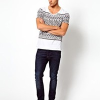 ASOS Stripe T-Shirt With Aztec Print at asos.com
