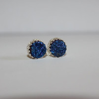 "Amazing ""Crowned with Glory"" Cabochon Blue Druzy Sterling Silver Earrings"