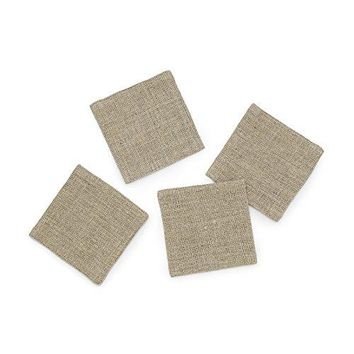 Solino Home Rustic Linen Coasters  Handwoven and Handcrafted  Natura Collection  4 x 4 Inch Light Soil