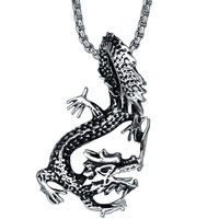 Stainless Steel Dangling Dragon Pendant Necklace