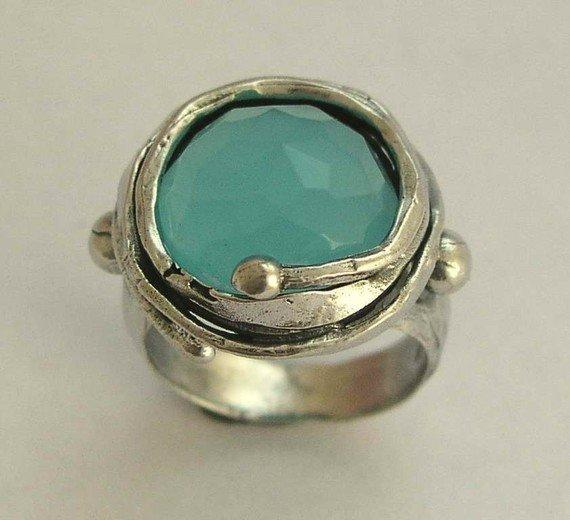Sterling silver oxidized ring inlaid blue quartz by artisanimpact