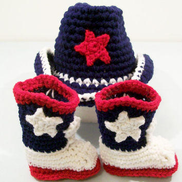Baby Boys Crochet Cowboy Gift Set, Western Cowboy, Boots in red navy and White, Baby Boy gift, Baby Shower Gift, Made in the USA, #122