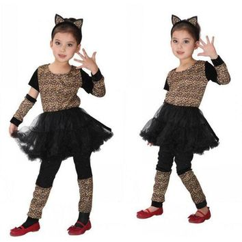CREY6F Girls Kids Leopard Cosplay Costume Anime Masquerade Fantasia Christmas Gift Animal Costumes Leopard Children Fancy dress