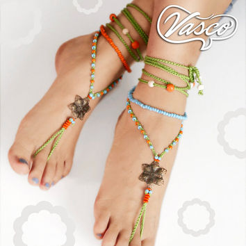 Hippie barefoot sandals, barefoot sandles, crochet barefoot sandals, yoga, anklet hippie shoes, gypsy