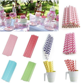New 25*Muliti Color Biodegradable Paper Drinking Straws Party Wedding Decoration [7983475335]