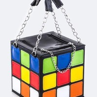Retro Rubik's Cube Crossbody Handbag