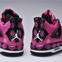 Hot Air Jordans 4 UNC PE Women Shoes Pink Black White