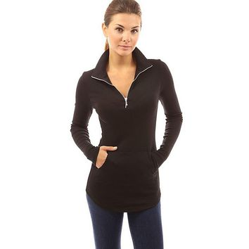 Casual Stand Collar Long Sleeve Pocket Zipper Design T-Shirt for Ladies