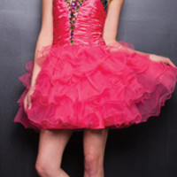 2013 Prom Dresses - Watermelon Strapless Tulle Prom Dress - Unique Vintage - Prom dresses, retro dresses, retro swimsuits.