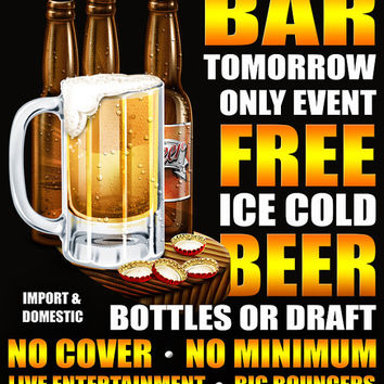 Free Beer Tomorrow Bar Decor Personalized Print / Pub Sign / Poster