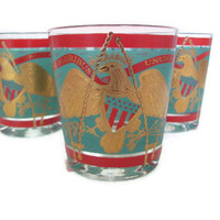 Vintage Barware Cocktail Glasses Red Turquoise and Gold Americana E Pluribus Unum