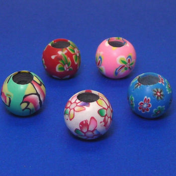 20 mix(5mm hole)12mm Flower Polymer Clay Beads Mix / Assorted Beads ( 20pcs by Random)DREAD Hair Beads,Dreadlock Accessories,dreadlock bead