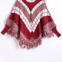 Dolman Sleeves Geometric Fringed Cape
