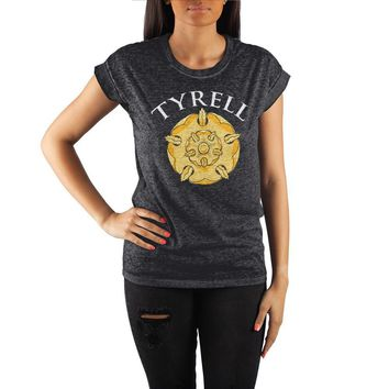 Game of Thrones House Tyrell Golden Rose Crew Neck Rolled Sleeve T Shirt