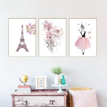 Simple Modern Art Hd Print Poster Canvas Nordic Style Cartoon Dancing Girl Tower Flower Wall Pictures Home Decoration Painting