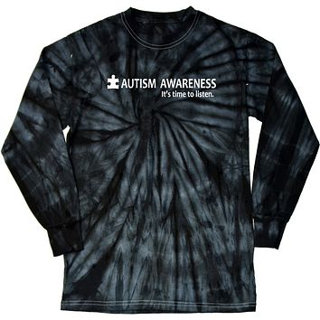 Buy Cool Shirts Autism Awareness Time to Listen Tie Dye Long Sleeve Shirt