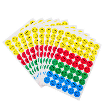 New Cute 540pcs Colourful Round Smile Face Stickers Decal Kids Children Teacher Praise Merit