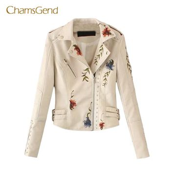 2017 Women Embroidery floral faux leather jacket White basic jackets outerwear coats casual autumn winter jacket female aug28
