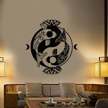 Vinyl Wall Decal Koi Carp Yin Yang Symbol Buddhism Lotus Flower Stickers (2923ig)