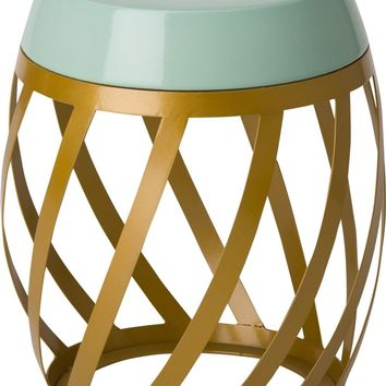 Lexa Metal Stool/Table Powedercoated Gold With A Sage Ceramic Top