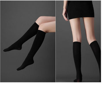 2016  Fashion Knee High Socks Calf Support Comfy Relief Black Cotton Leg Warmers Students Black