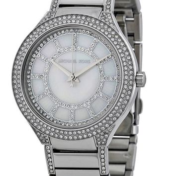 Michael Kors Kerry Crystal Mother of Pearl Dial Silver Tone Women's Watch MK3311