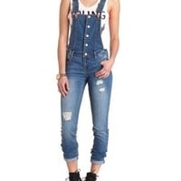 Ripped Skinny Denim Overalls by Charlotte Russe - Med Wash Denim