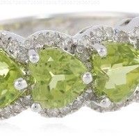 Sterling Silver Ring with Heart-Shaped Peridots and Pave-Set Diamonds (1/4cttw, I-J Color, I2-I3 Clarity), Size 7